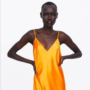 Zara Bright Orange Slip Dress